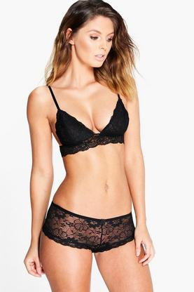 Eleanor Black Lace French Knicker