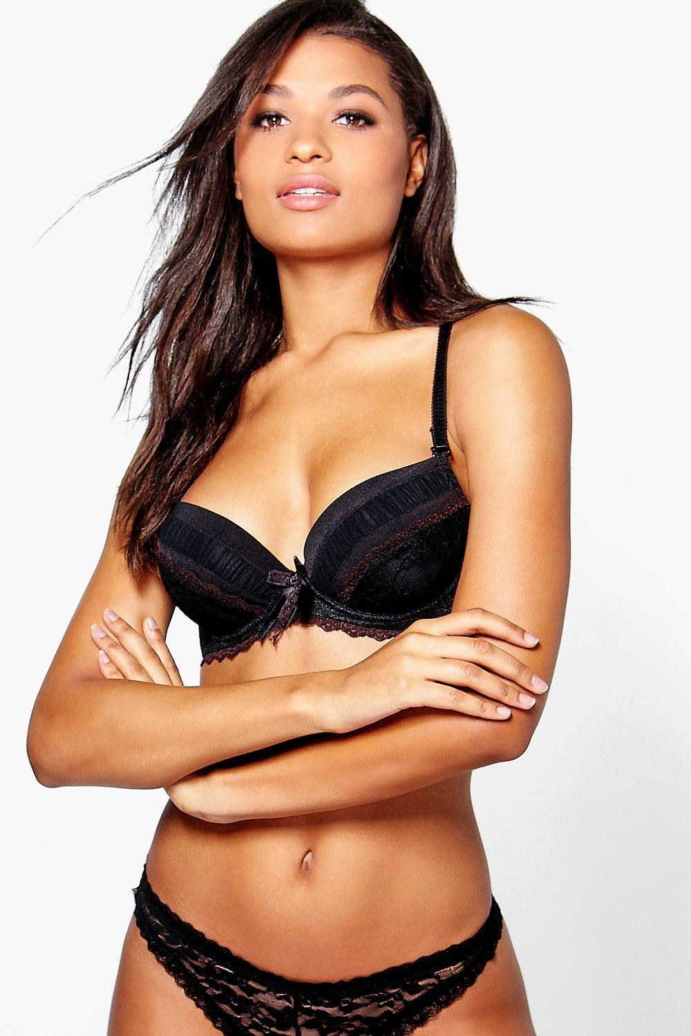 Emma Black Rouch Lace Padded Underwired Bra