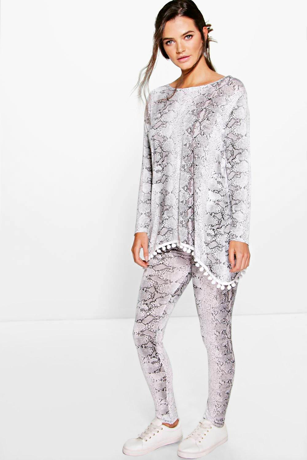 Millie Snake Print Pom Pom Trim Lounge Set
