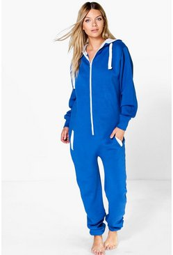 Lola Contrast Pocket And Tie Zip Up Onesie