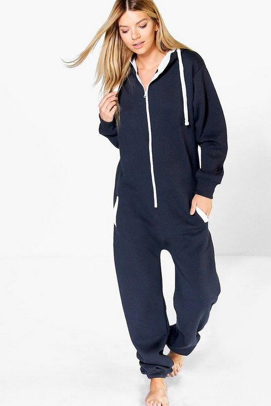 Freya Contrast Pocket And Tie Zip Up Onsie