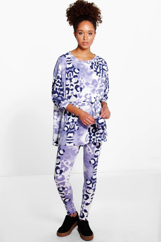 Leopard Tie Detail Co-Ord Lounge Set - blue