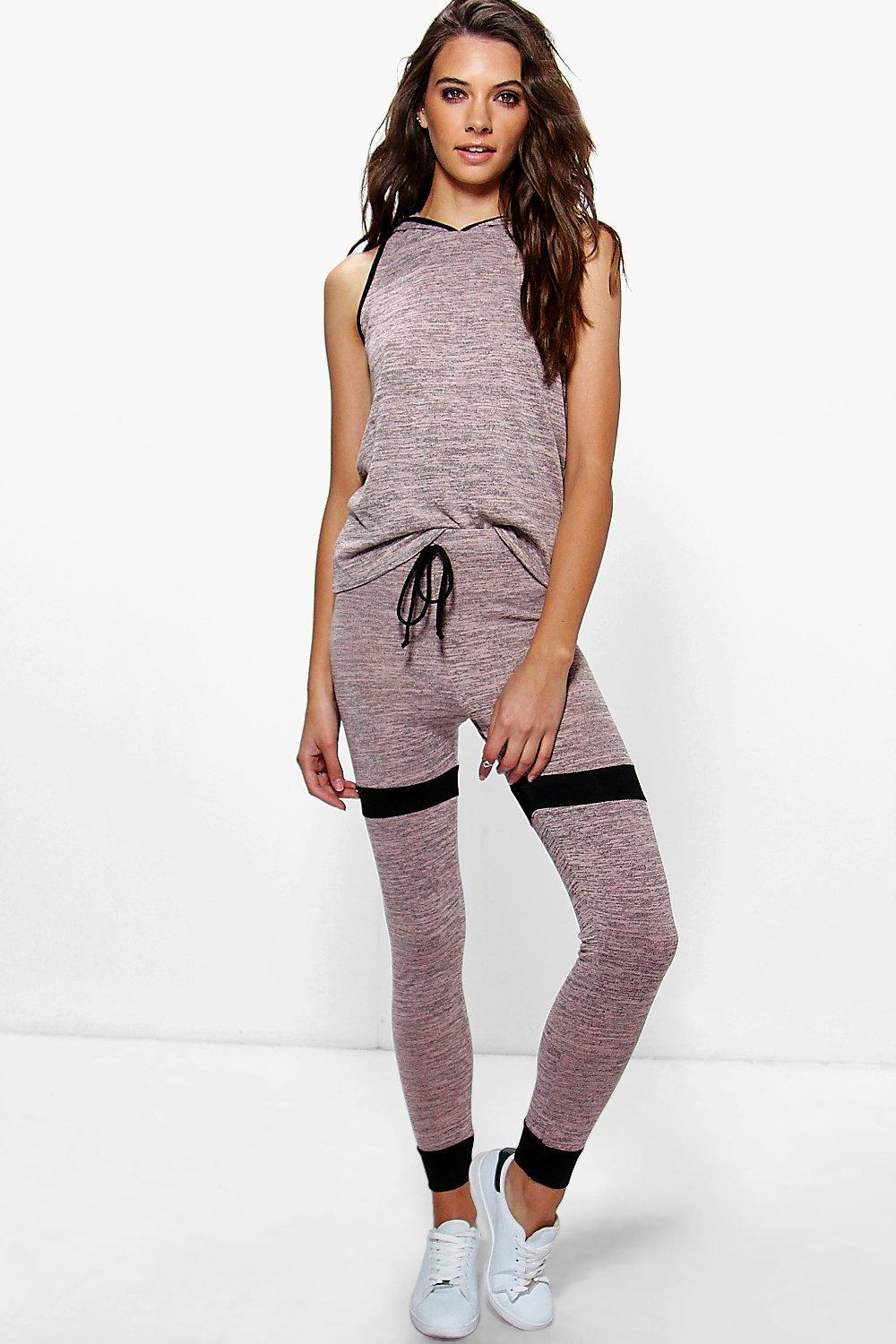 Holly Hooded Contrast Knit Jogger Lounge Set