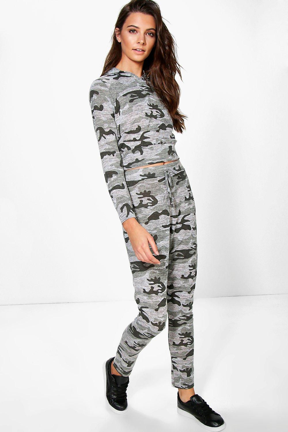 Leah Camo Hooded Crop And Jogger Lounge Set