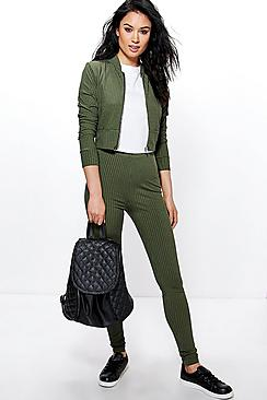 Ella Zip Ribbed Bomber And Legging Lounge Set