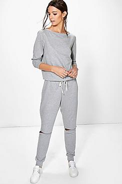 Megan Slit Knee Jersey Lounge Jumpsuit