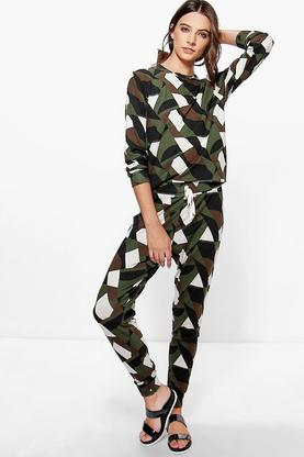 Alice Abstract Camo Print Long Sleeve Lounge Set