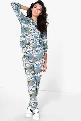 Lola Camo Print Long Sleeve Lounge Set