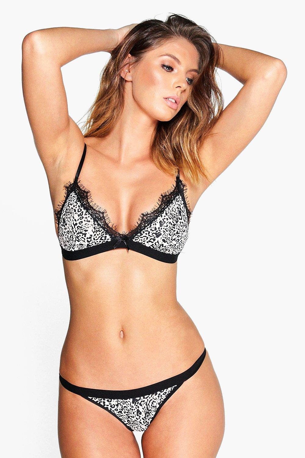 Martha Animal Print Bra and Thong Set