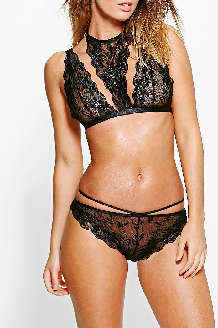 Sofia Galloon Lace and Rouleau Strap Brazillian Brief