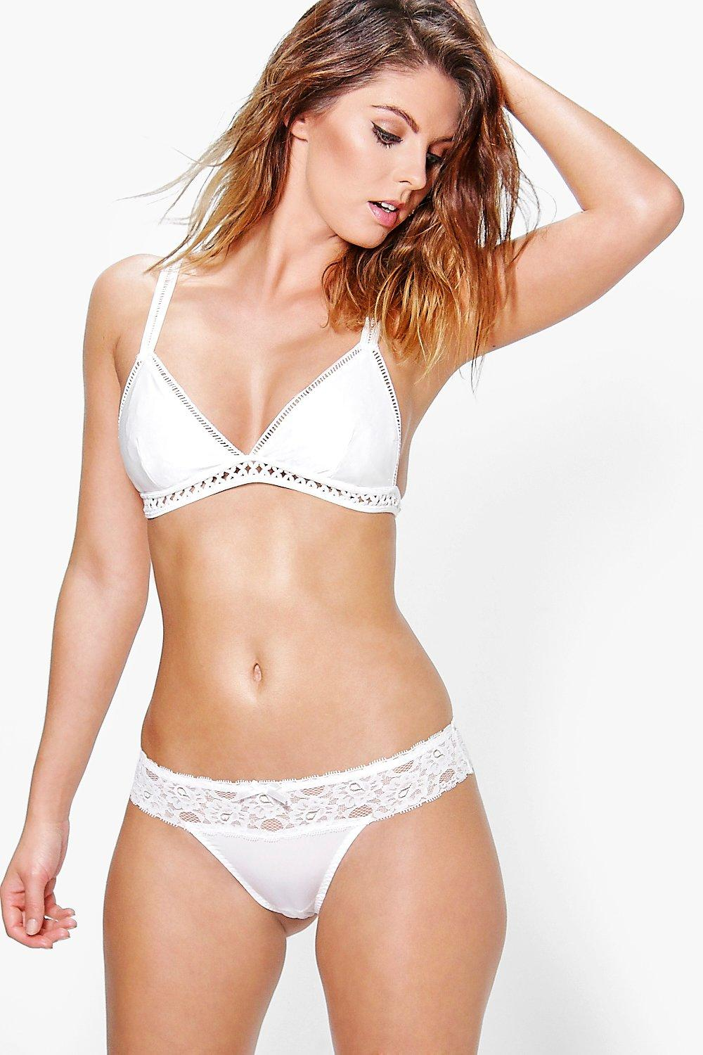 Ellie Cream Lace Trim Thong