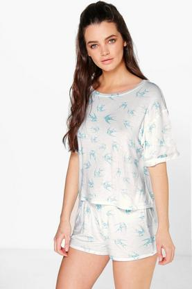 Emma All Over Swallow Print Tee And Short PJ Set