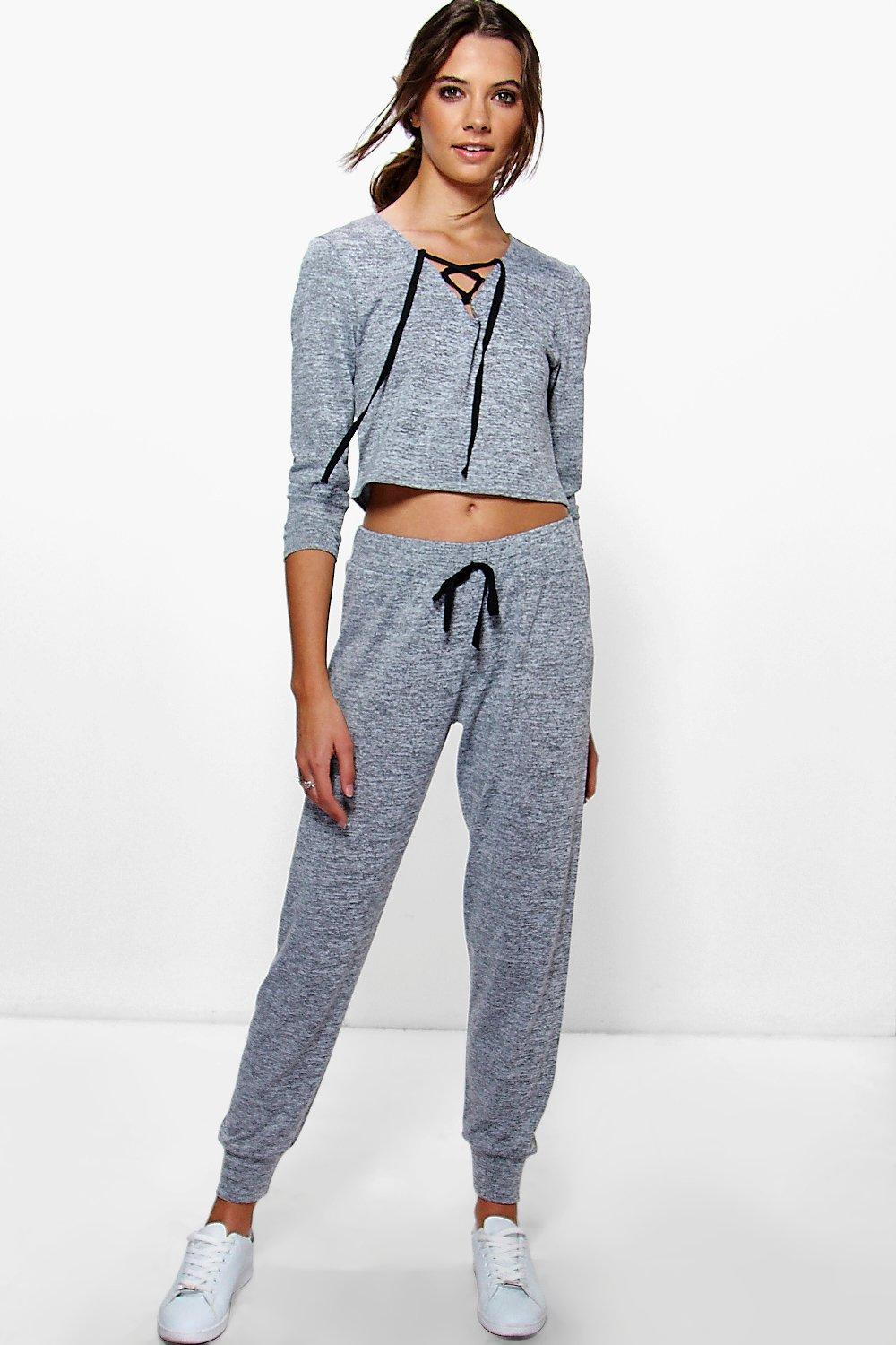 Lucy Tie Front Sweat And Jogger Lounge Set