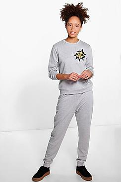Patch Loop Back Jersey Jogger Set