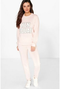 Bridal Hen Slogan Long Sleeve Knit Lounge Set