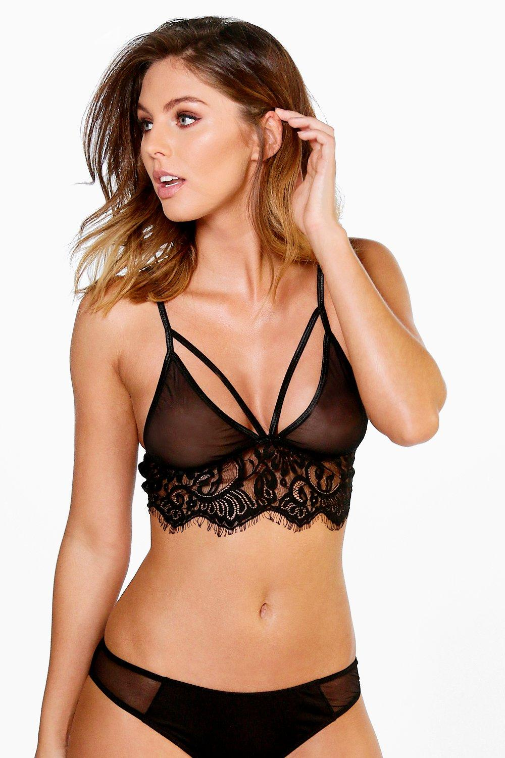 Megan Lace Trim Longline Triangle Bra