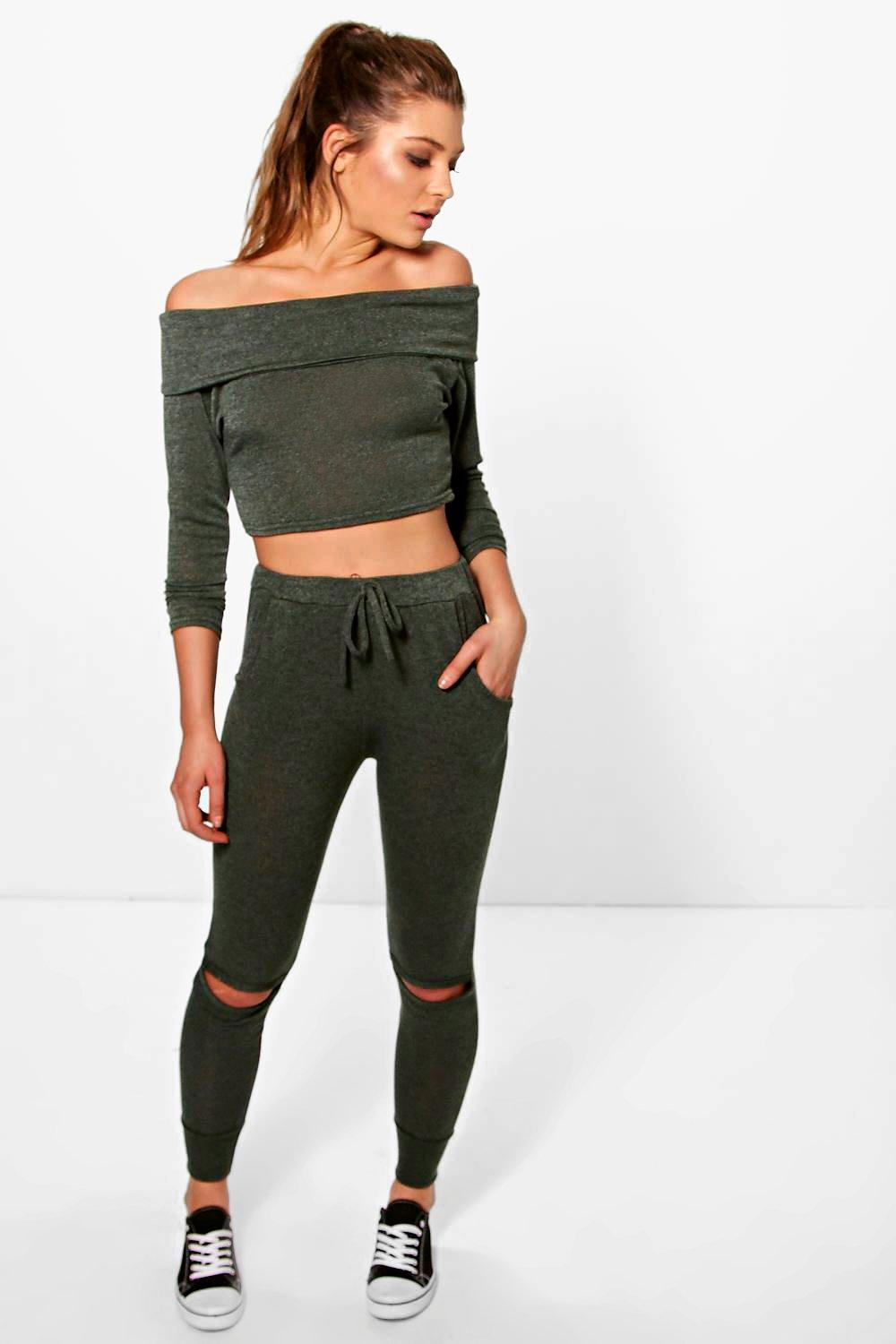 Erin Bardot Top And Jogger Knitted Loungewear Set