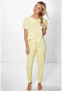Lilly Lace Floral PJ T shirt And Trouser Set