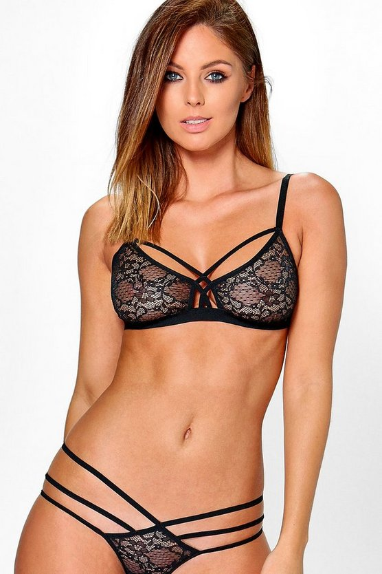 Rose Strap Detail Lace Triangle Bralet