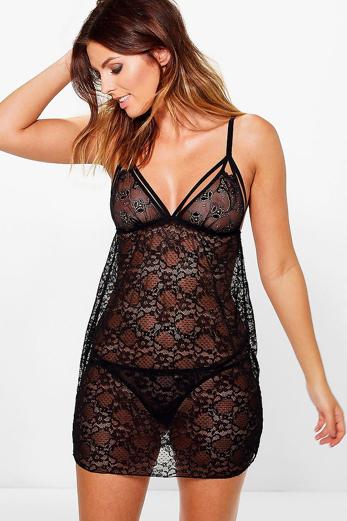 Imogen Galloon Lace And Strap Detail Babydoll