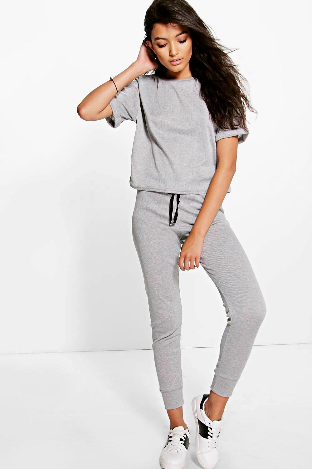 Alice Ribbed Tshirt And Jogger Lounge