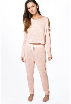 Brooke Cold Shoulder Space Dye Lounge Set