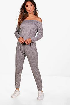 Ella Slash Neck Long Sleeve Lounge Jumpsuit