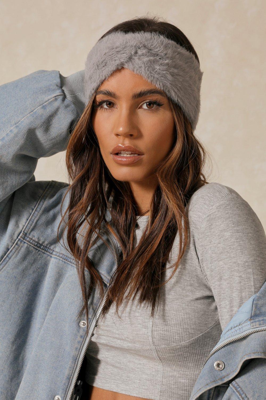 Womens Faux Fur Knot Headband - grey - One Size, Grey