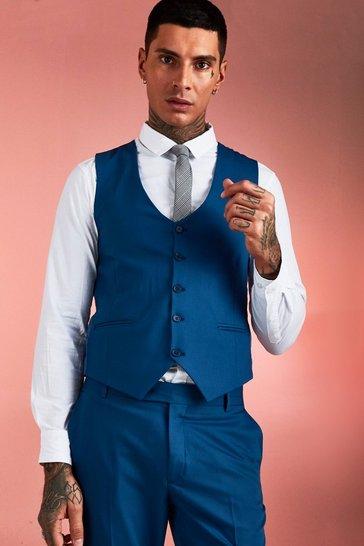 Blue Plain Skinny Fit Waistcoat