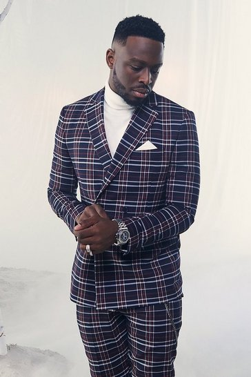 Navy Tartan Double Breasted Skinny Fit Suit Jacket