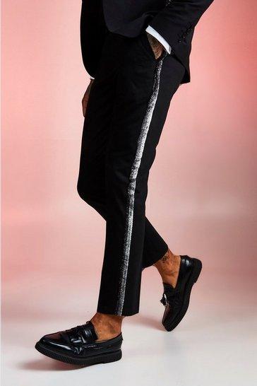 Black Plain Skinny Fit Tape Detail Suit Trouser