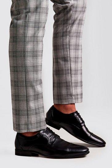 Black Faux Leather Toe Cap Formals