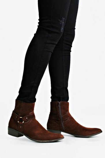 Brown Harness Side Faux Suede Chelsea