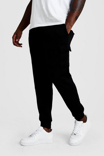 Black Big And Tall Skinny Fit Basic Cargo Joggers