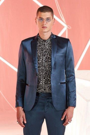 Teal Satin Skinny Fit Suit Jacket