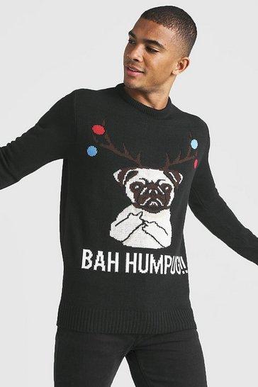 Black BAH Humpug Knitted Christmas Jumper
