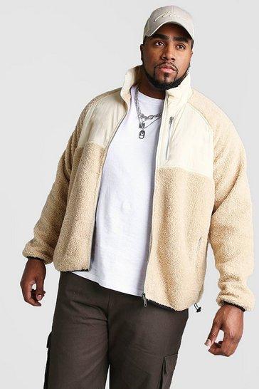 Ecru Big And Tall Fabric Mix Borg Jacket