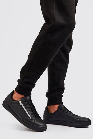 Black Faux Leather Side Zip Trainer