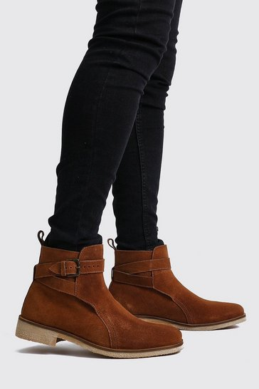 Tan Real Suede Buckle Chelsea Boot