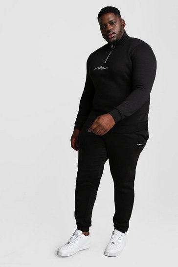 Black Big and Tall MAN Script Funnel Tracksuit