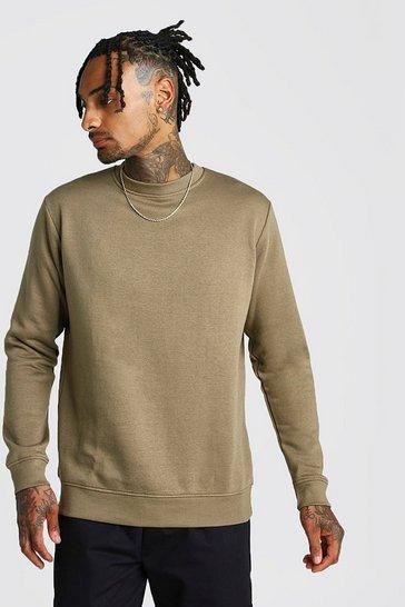 Khaki Basic Crew Neck Fleece Sweatshirt