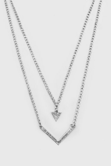 Silver Double Layer Triangular Pendant Necklace