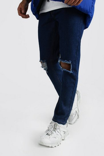 Dark blue Slim Rigid Jeans With Busted Knees