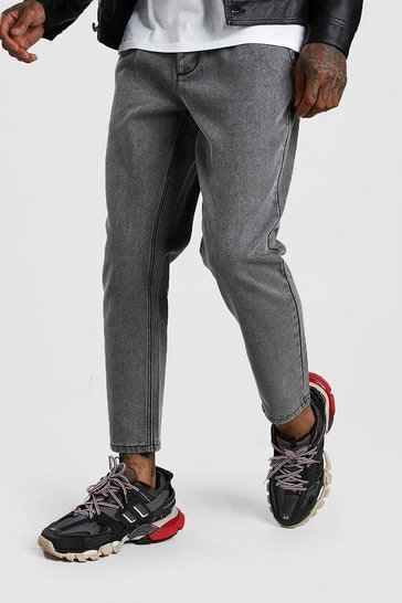 Charcoal Tapered Jeans With Pleats