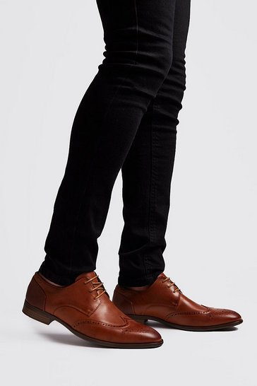 Tan Faux Leather Gibson Brogue