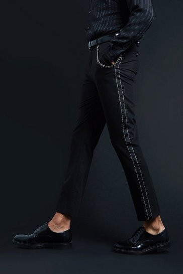 Black Premium Skinny Fit Trouser With Tape & Chain Detail