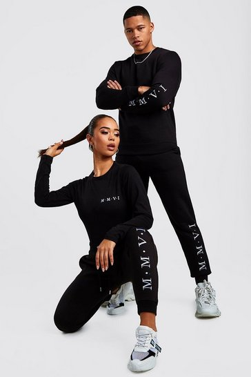 Black Hers Crew Neck Bodysuit & Jogger Set