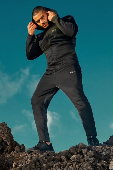 Black MAN Active Skinny Fit Panelled Tracksuit