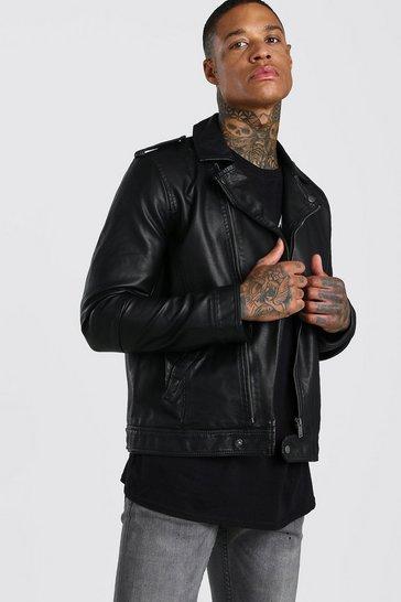 Black Washed PU Biker Jacket