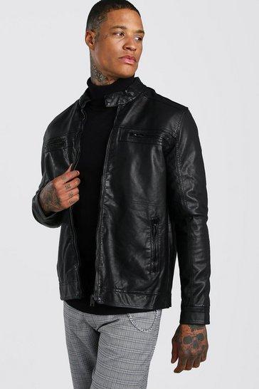 Black PU Biker Jacket With Zip Pockets
